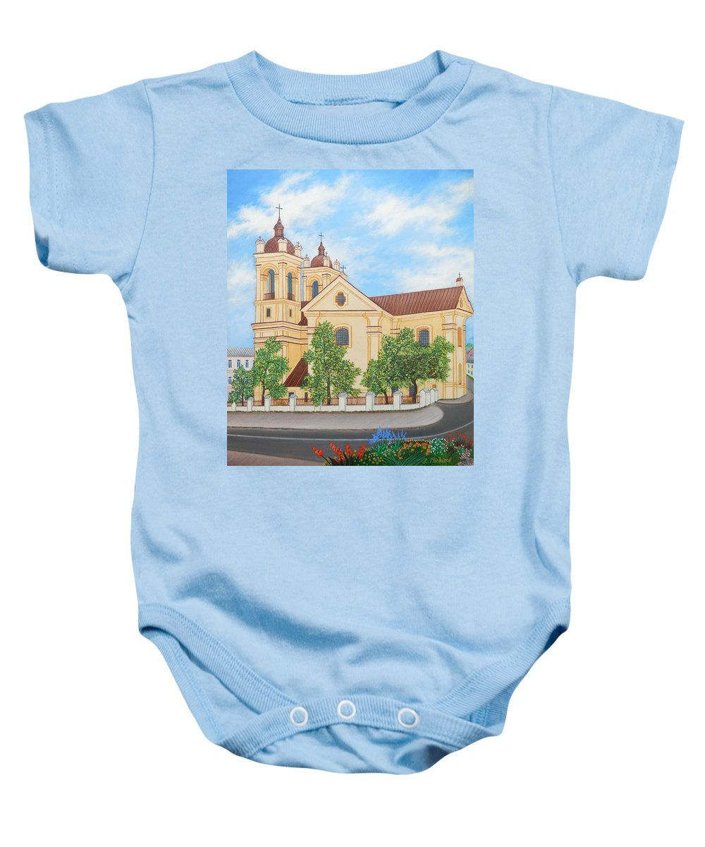 Summer Baby Onesie featuring the painting Peaceful Summer Morning by Loreta Mickiene