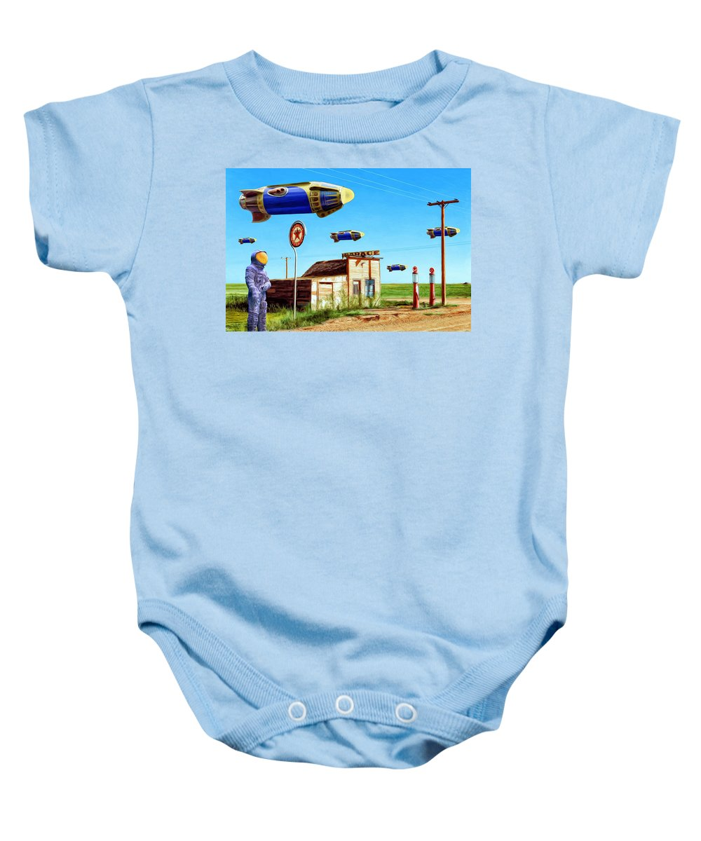 Peacekeepers Baby Onesie featuring the painting Peacekeepers by Dominic Piperata