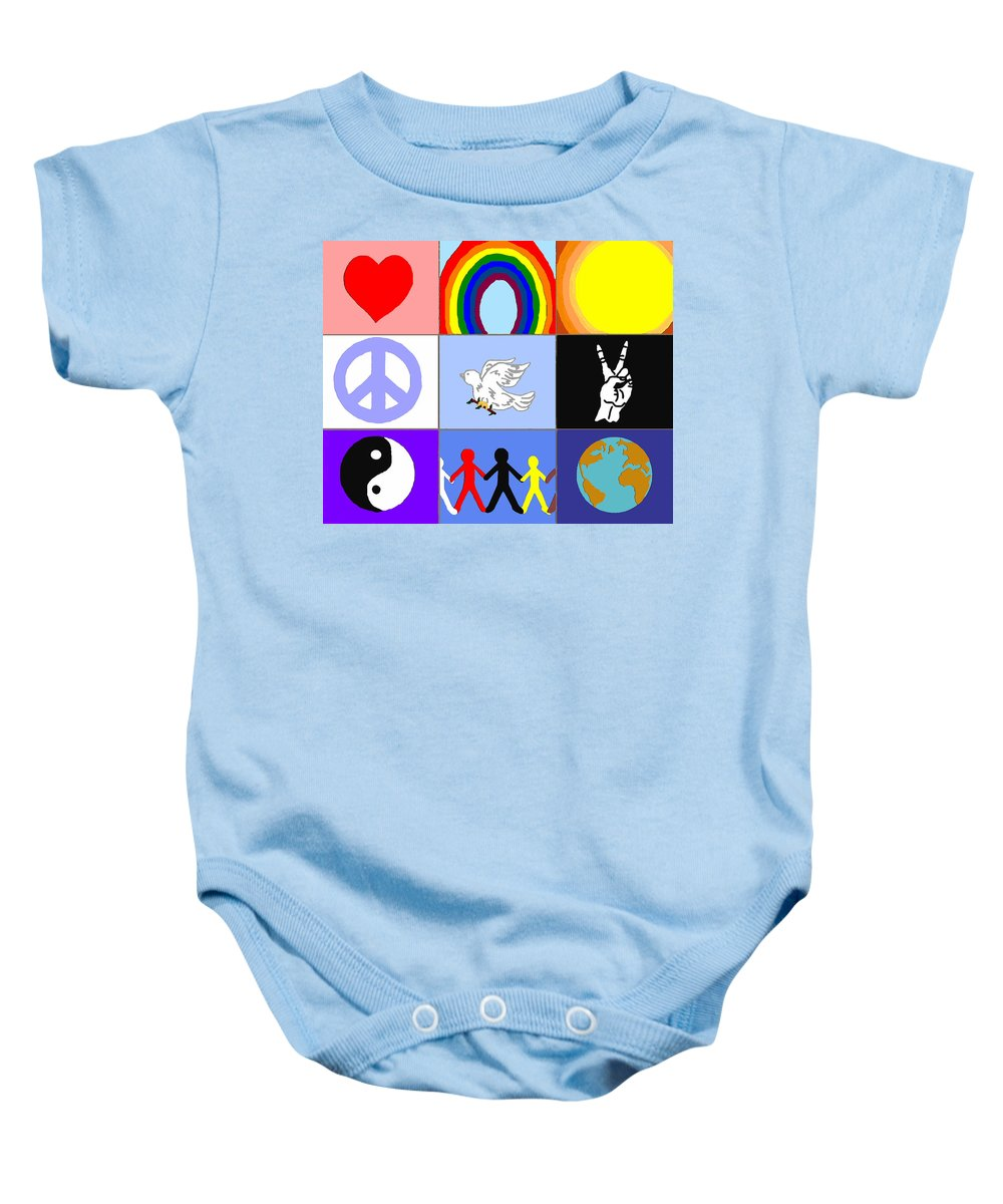 Peaceloveunity Mosaic Baby Onesie featuring the painting peaceloveunity Mosaic by Pharris Art