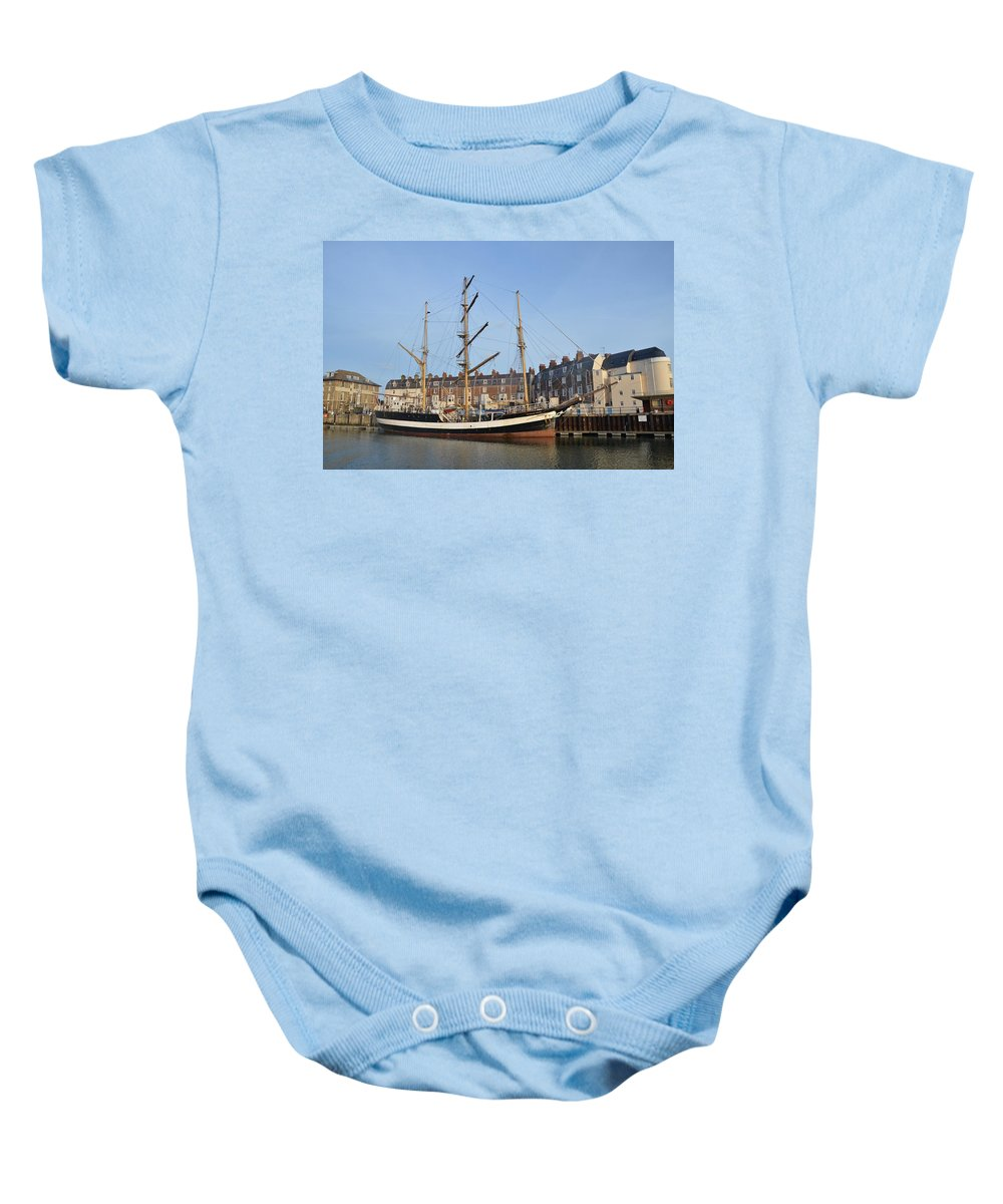 Pelican Of London Baby Onesie featuring the photograph Pelican Of London by Malcolm Snook