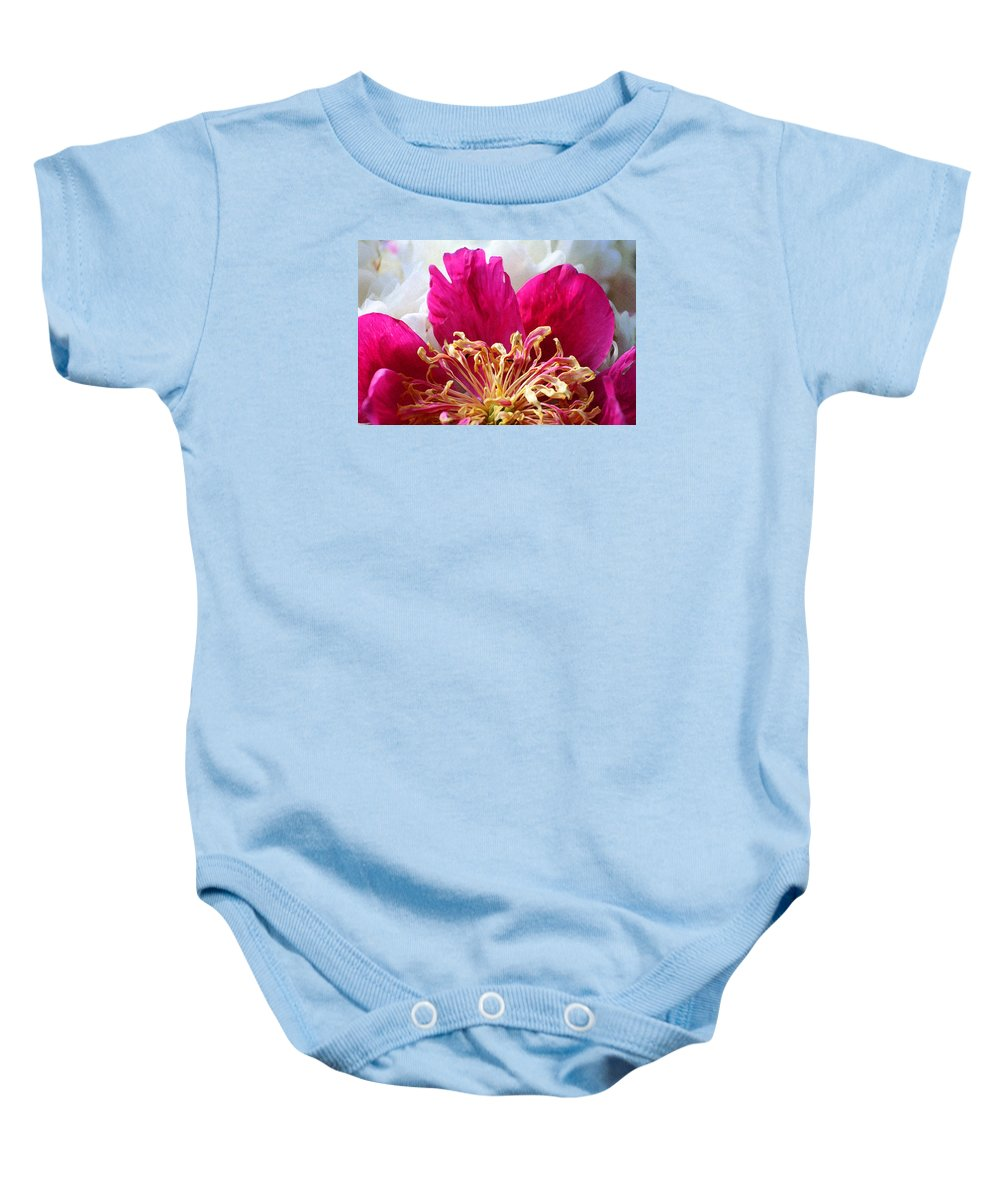 Peony Baby Onesie featuring the photograph Peony Painterly by Karen Adams