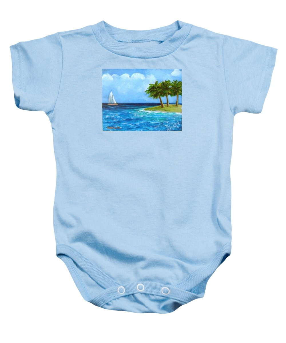 Boats Baby Onesie featuring the painting Perfect Sailing Day by Laurie Morgan