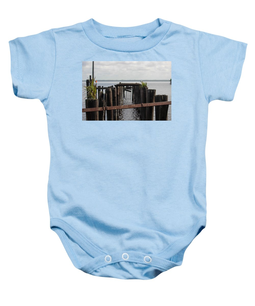 Pier Baby Onesie featuring the photograph Pier To Nowhere by Patti Colston