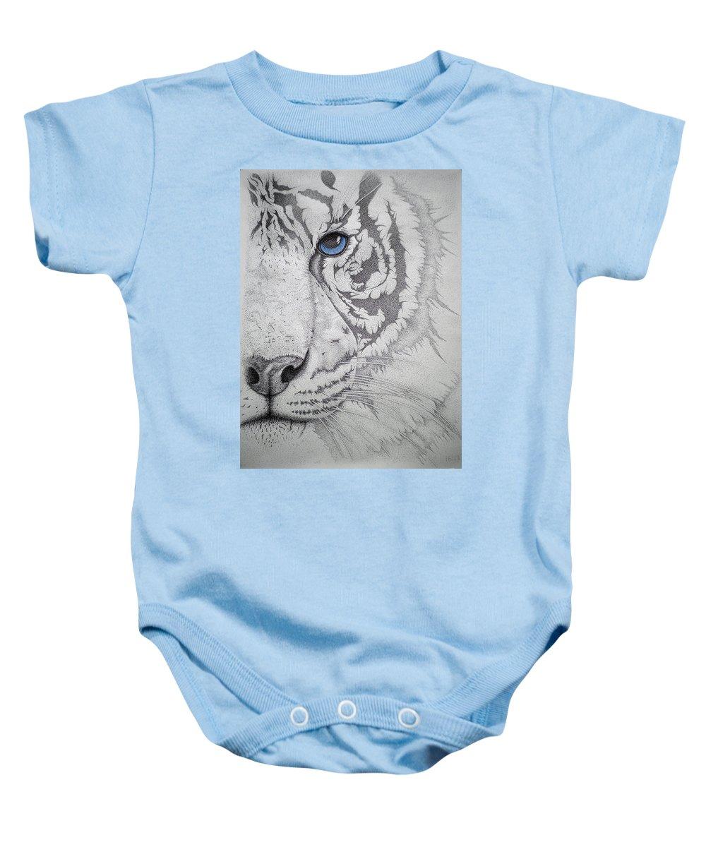 Tigers Paintings Baby Onesie featuring the drawing Piercing II by Mayhem Mediums