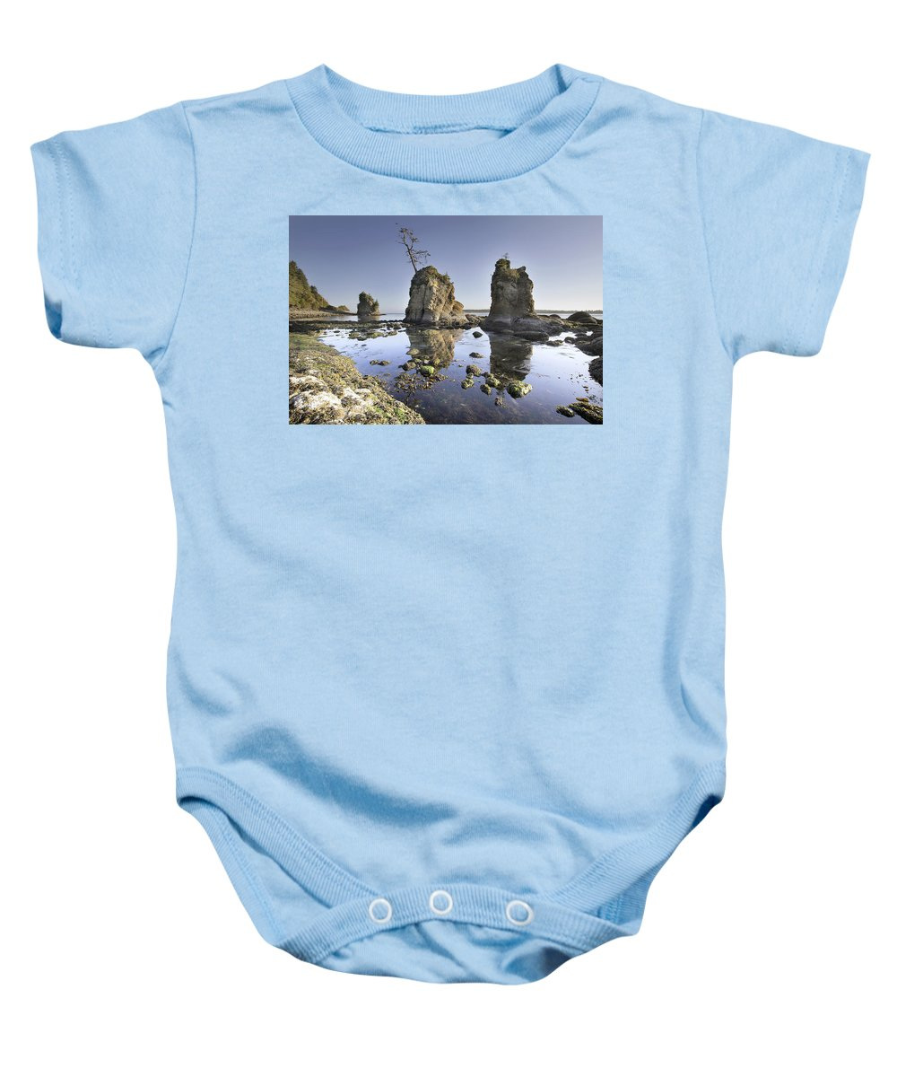 Pig Baby Onesie featuring the photograph Pig And Sows Inlet In Garibaldi Oregon At Low Tide by Jit Lim