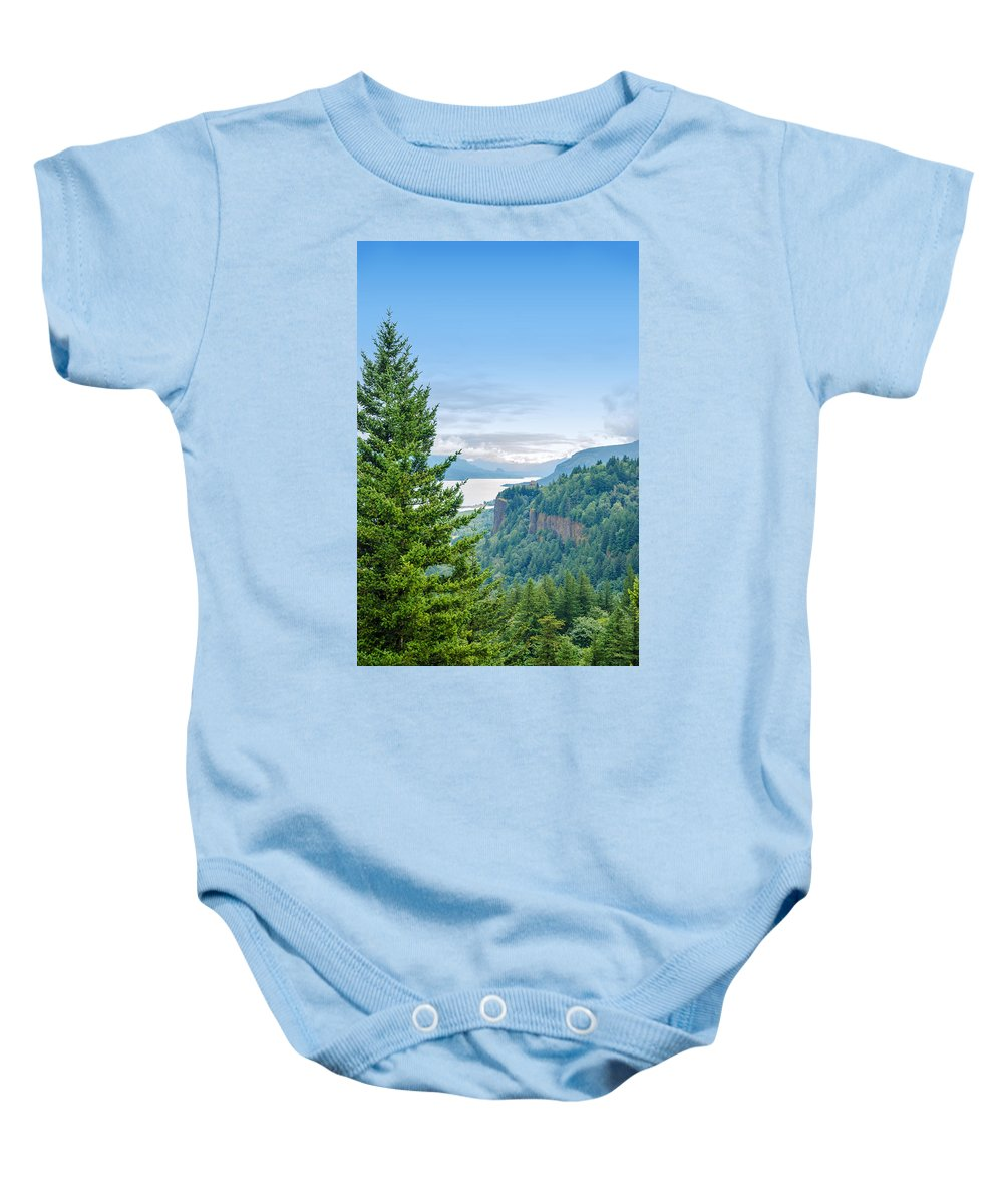 River Baby Onesie featuring the photograph Pine Tree And Columbia River Gorge by Jess Kraft