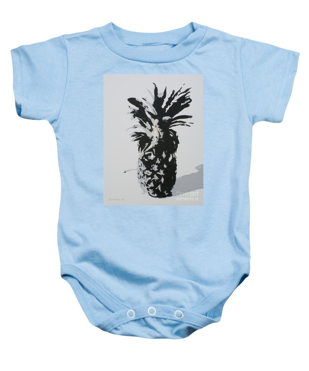Pineapple Baby Onesie featuring the painting Pineapple by Katharina Filus