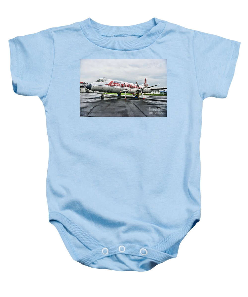 Paul Ward Baby Onesie featuring the photograph Plane Props On Capital Airlines by Paul Ward