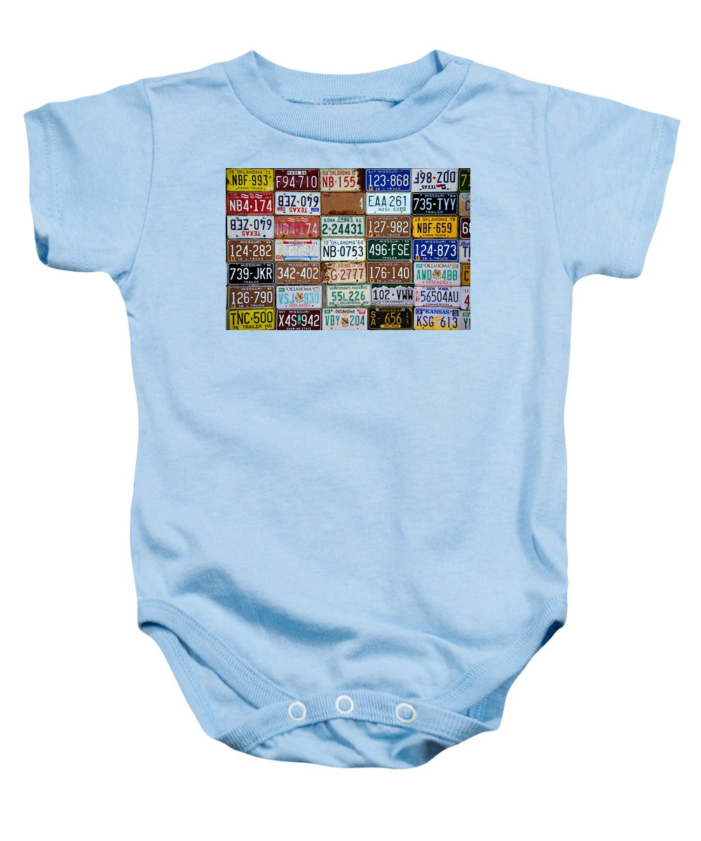 License Baby Onesie featuring the photograph Plates by Ricky Barnard