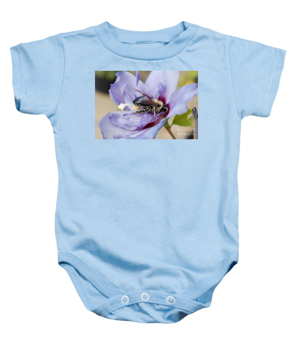 First Star Art Baby Onesie featuring the photograph Pollen Passion by First Star Art