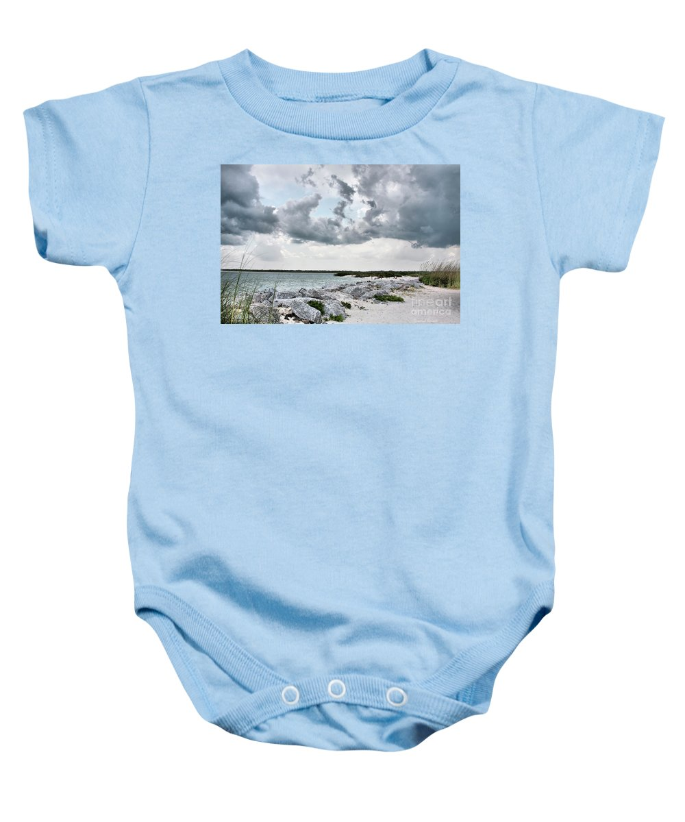 Clouds Baby Onesie featuring the photograph Ponce Inlet Mood by Deborah Benoit