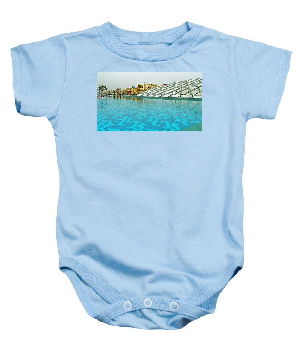 Pool And Roof Of Alexandria Library Baby Onesie featuring the photograph Pool And Roof Of Alexandria Library-egypt by Ruth Hager