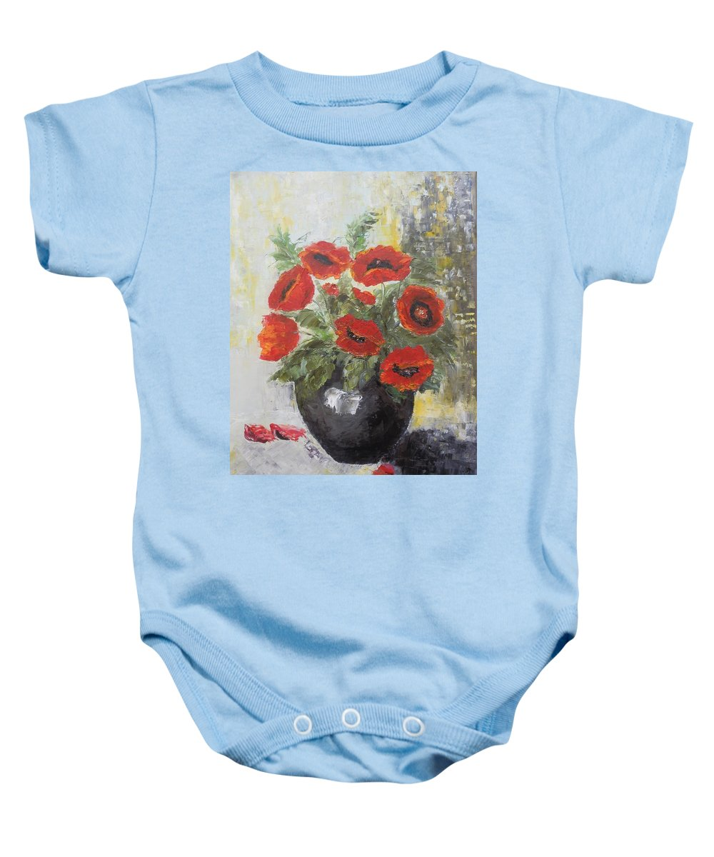 Still Life Baby Onesie featuring the painting Poppies In A Vase by Maria Karalyos