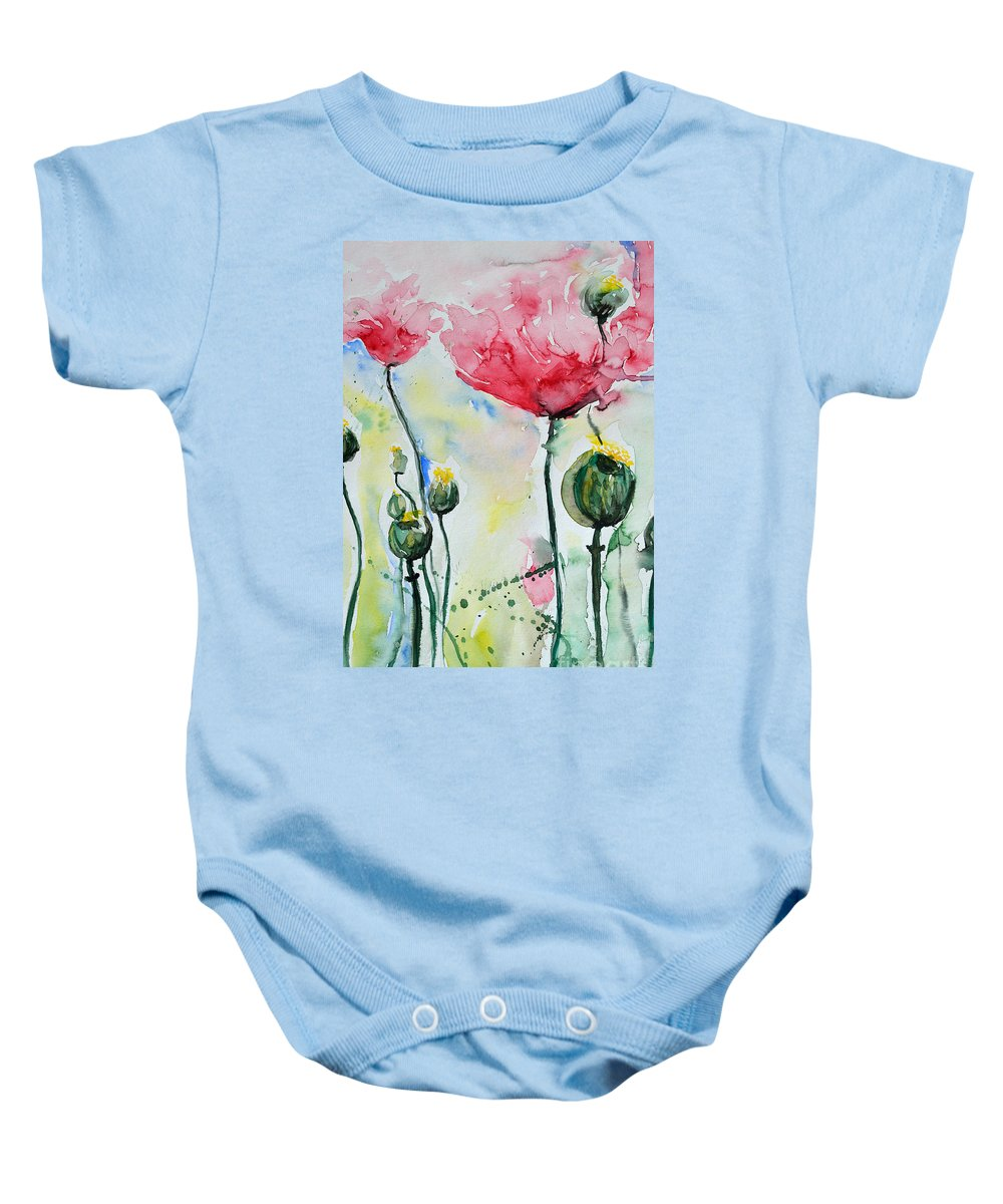 Poppy Baby Onesie featuring the painting Poppies by Ismeta Gruenwald
