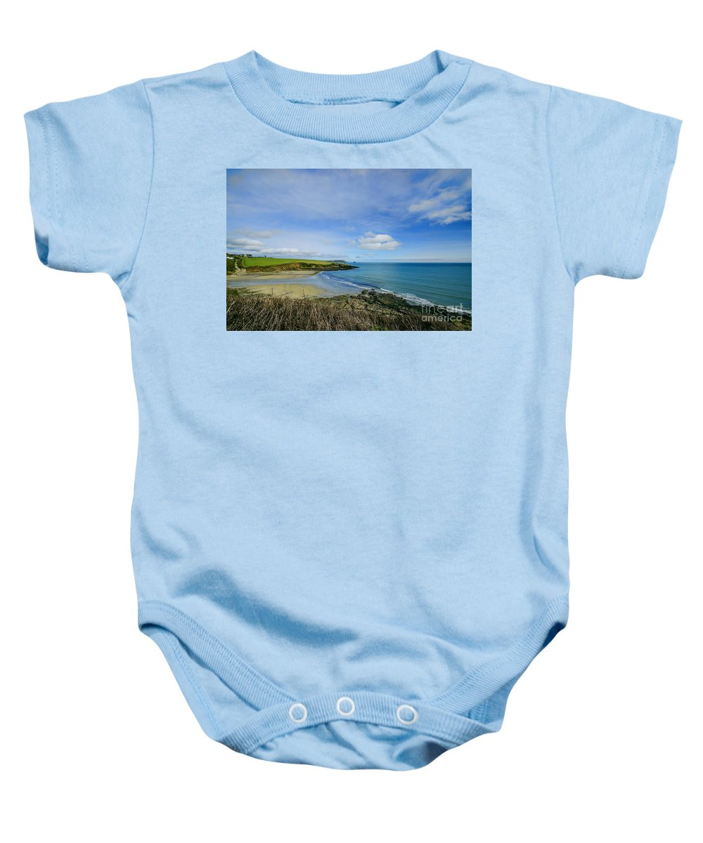 Cornwall Prints Baby Onesie featuring the photograph Porthcurnik Beach Cornwall by Chris Thaxter