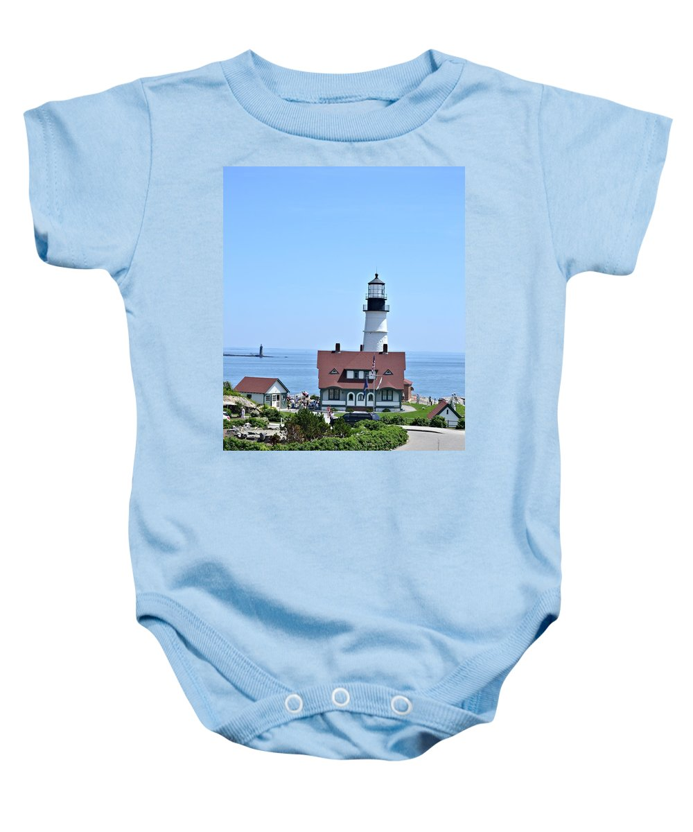 Portland Head Light Baby Onesie featuring the photograph Portland Head Light by Tara Potts