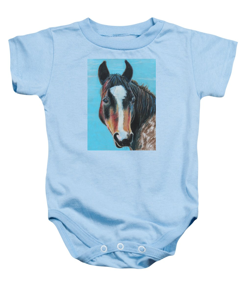 Horse Baby Onesie featuring the painting Portrait Of A Wild Horse by Jeanne Fischer
