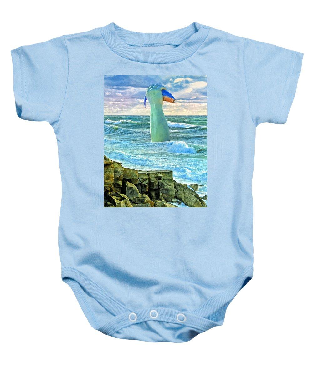 Poseidon Baby Onesie featuring the painting Poseidon by Dominic Piperata
