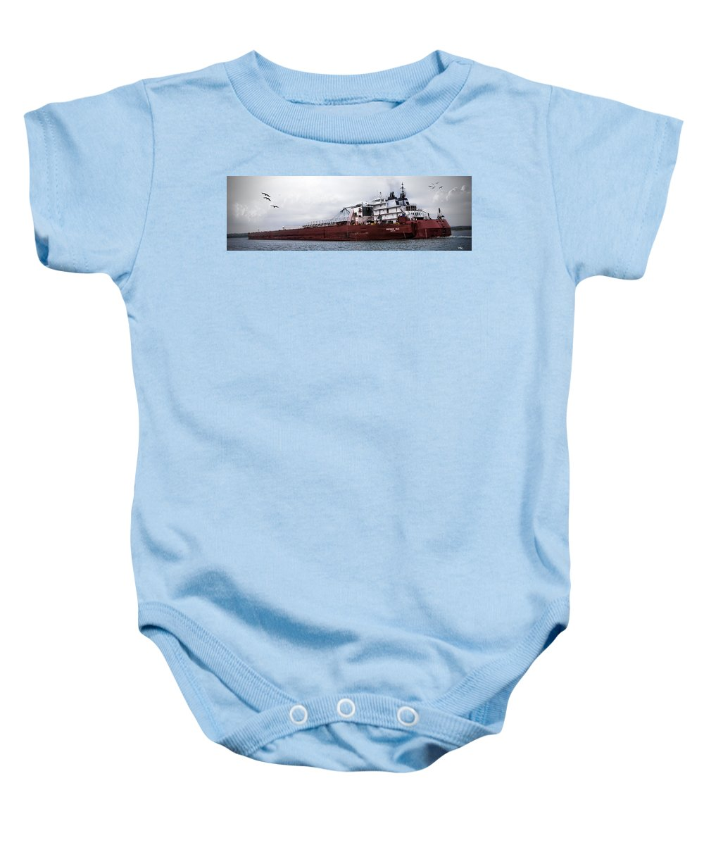 Evie Carrier Baby Onesie featuring the photograph Presque Isle Freighter by Evie Carrier