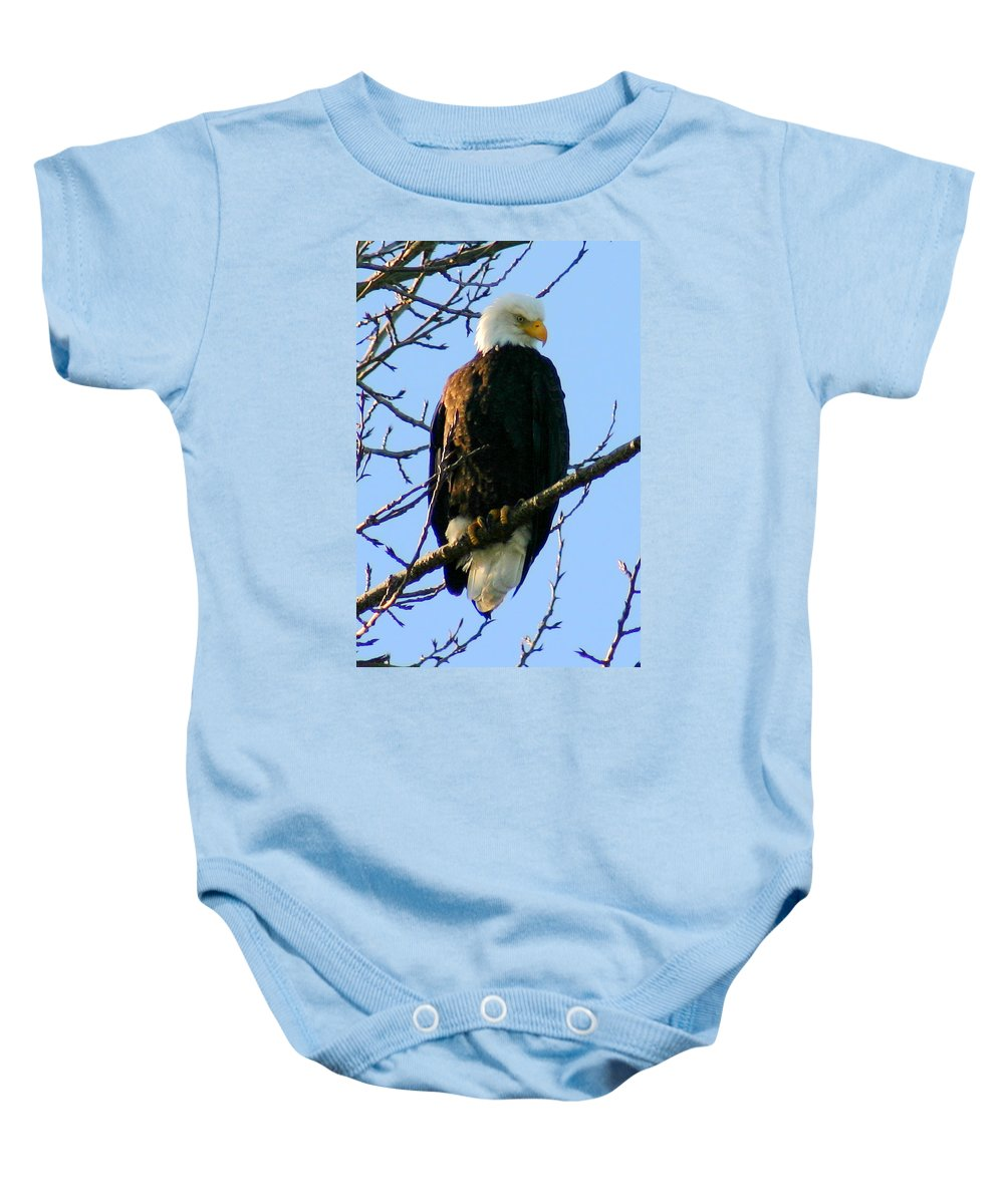 Eagle Baby Onesie featuring the photograph Proud by Mac Kenney