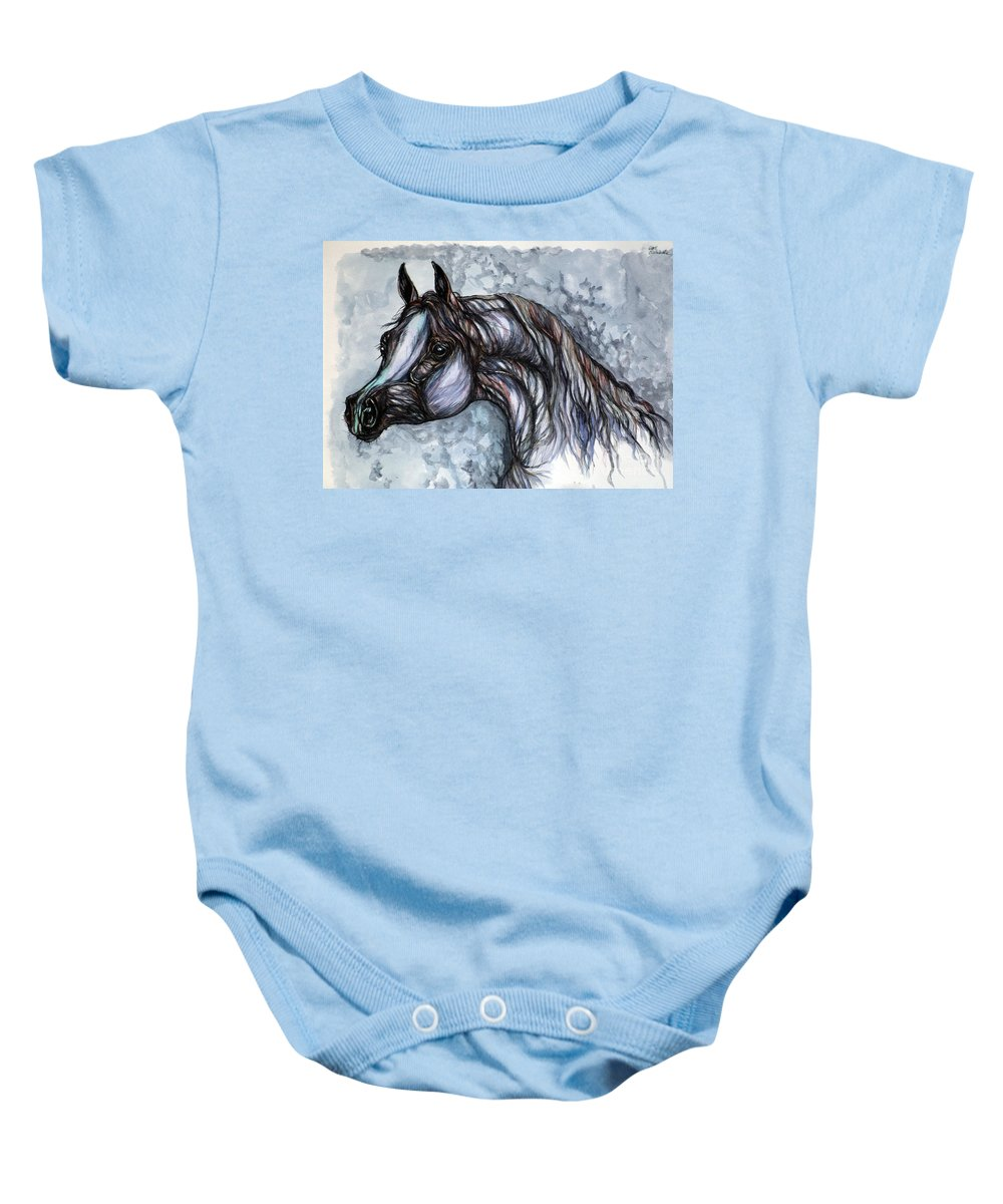 Horse Baby Onesie featuring the painting Psychedelic Grey And Blue by Angel Ciesniarska