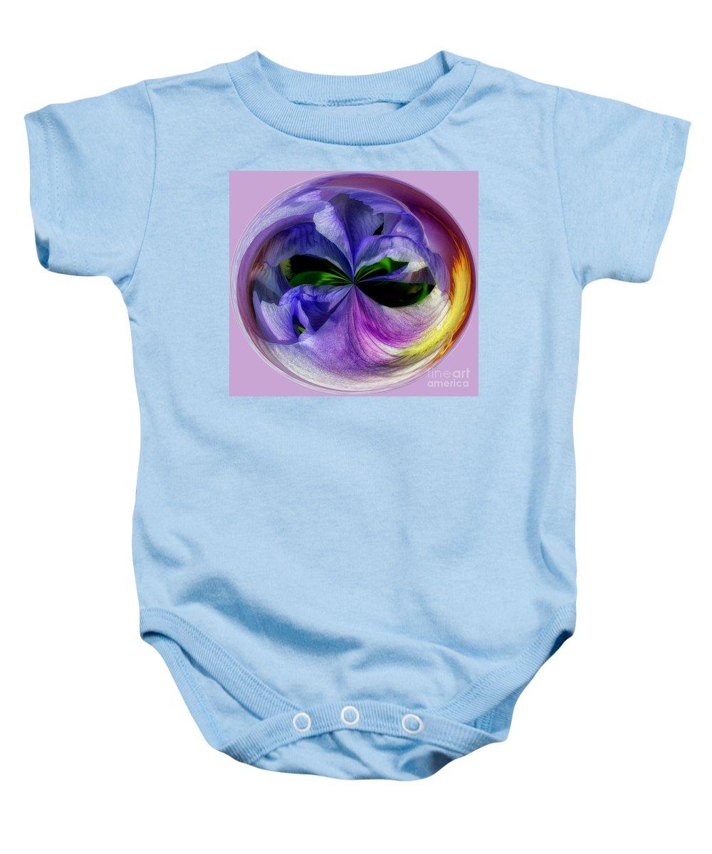 Purple Baby Onesie featuring the photograph Purple Iris Orb by Scott Hervieux