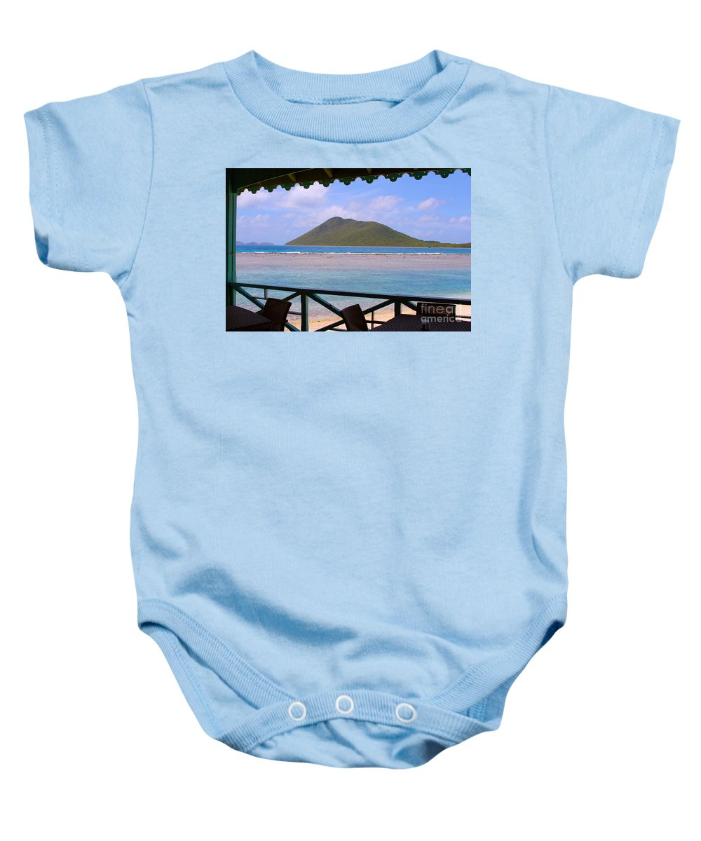 Baths Baby Onesie featuring the photograph Pussers Marina Cay by Carey Chen