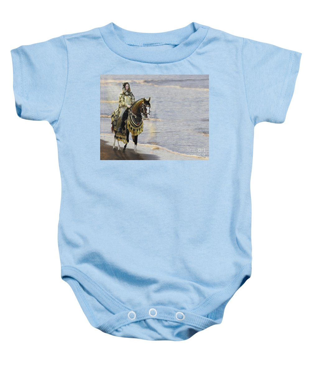 Horse Baby Onesie featuring the painting Queens War Horse by Constance Woods