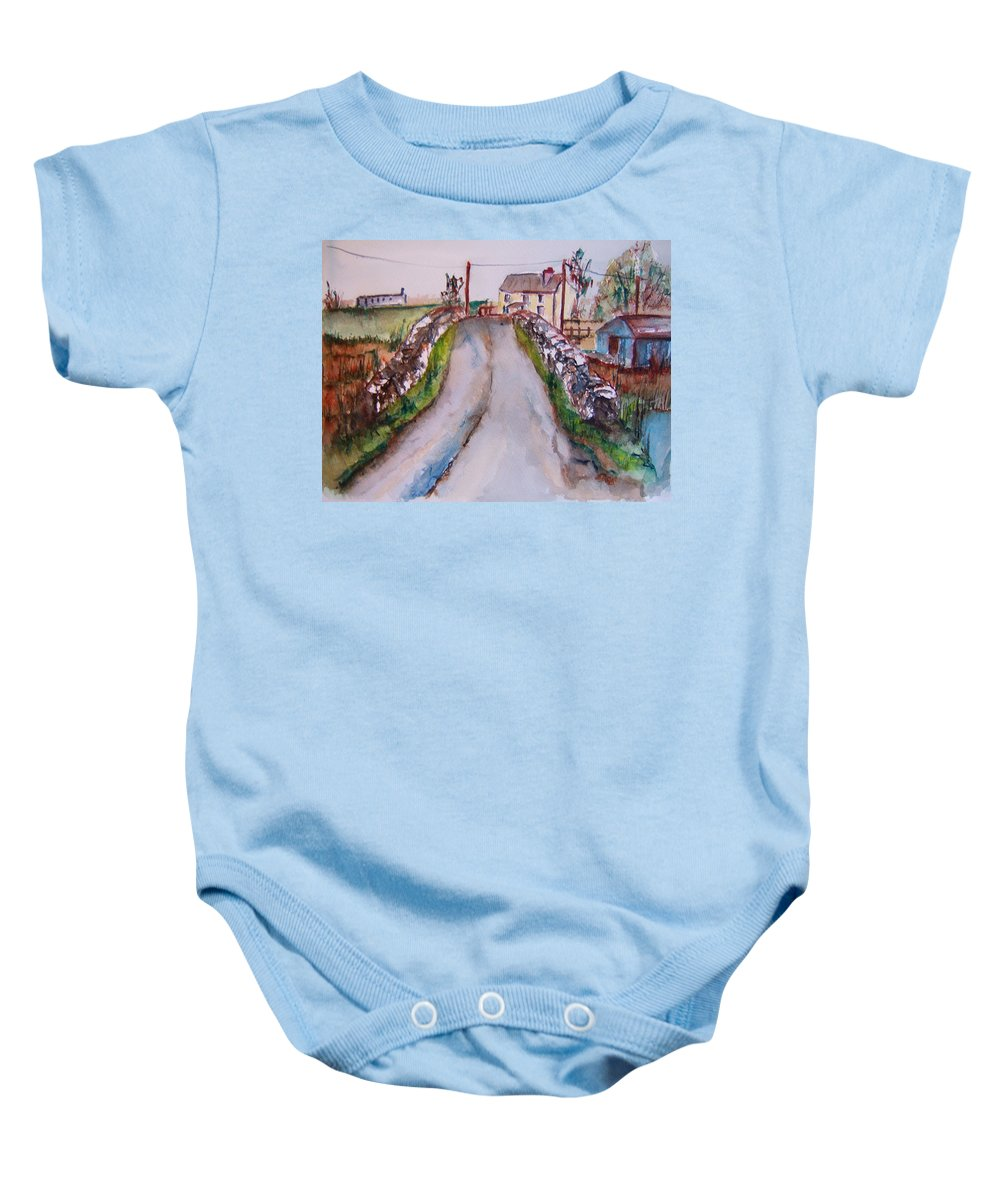 Quiet Man Movie Baby Onesie featuring the painting Quiet Man Bridge by Elaine Duras