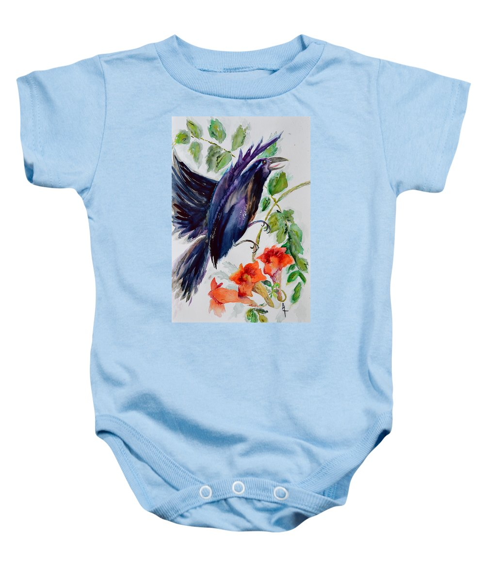 Crow Baby Onesie featuring the painting Quoi II by Beverley Harper Tinsley