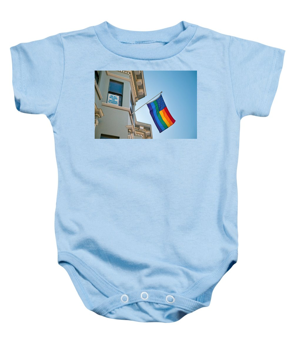 Waiting Room Baby Onesie featuring the photograph Rainbow Flag Marriage Equality by David Smith
