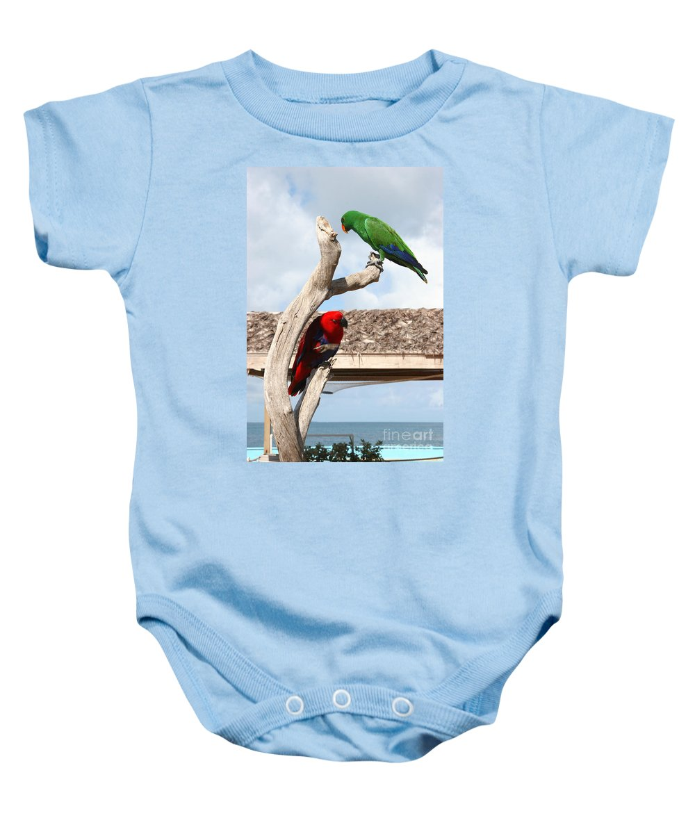 Parrot Baby Onesie featuring the photograph Red And Green Parrots by Jason O Watson