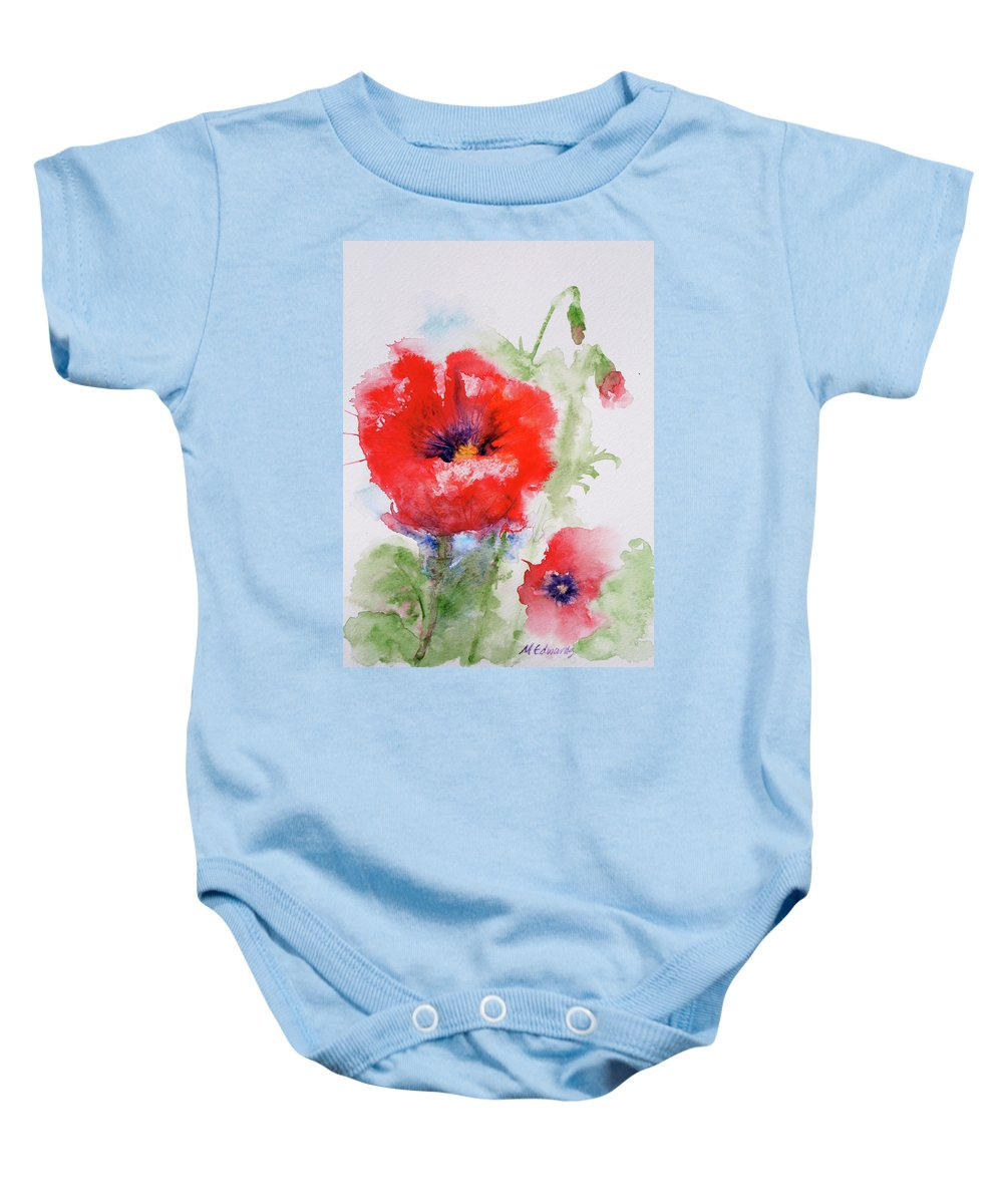 Red Baby Onesie featuring the painting Red Anemones by Marna Edwards Flavell