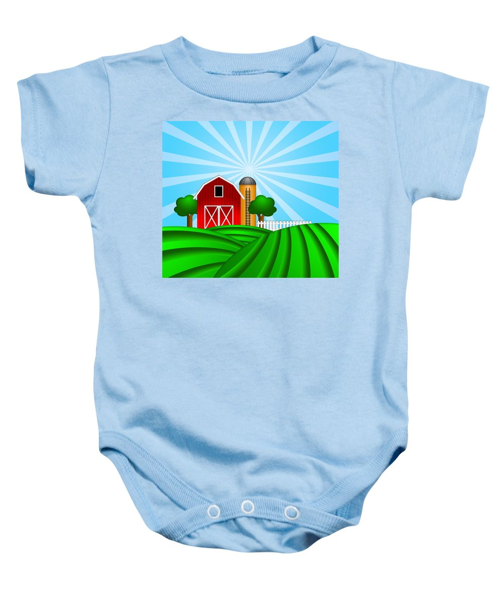 Red Baby Onesie featuring the digital art Red Barn With Grain Silo On Green Pasture Illustration by Jit Lim