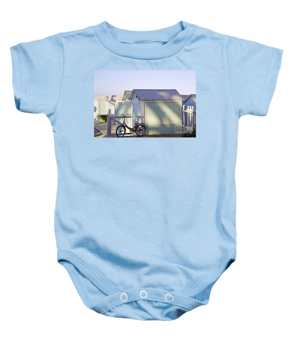 Cabana Baby Onesie featuring the photograph Red Bicycle At Mondello Beach by Madeline Ellis