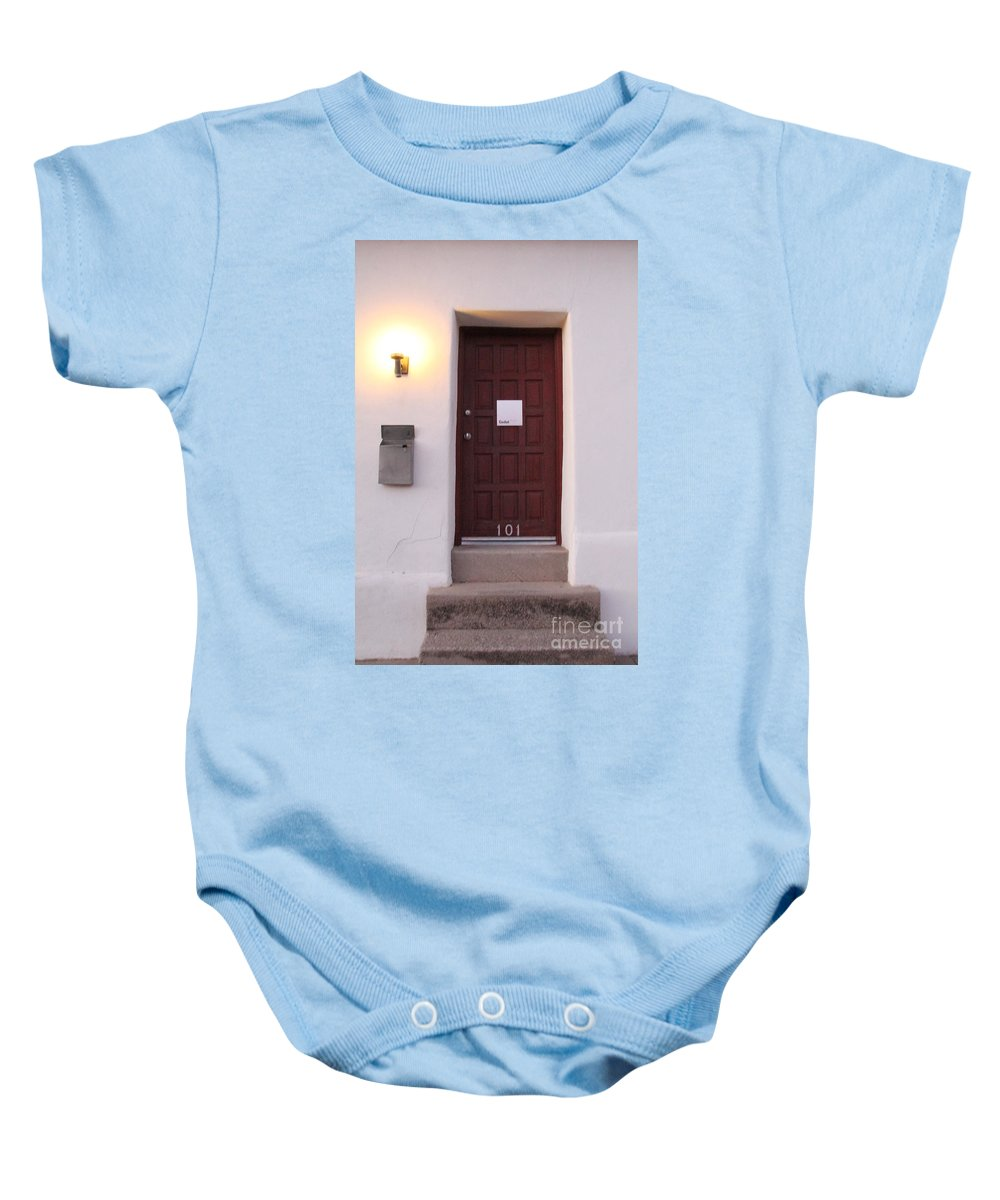 Bario Baby Onesie featuring the photograph Red Doors Of Tucson by Diane Greco-Lesser