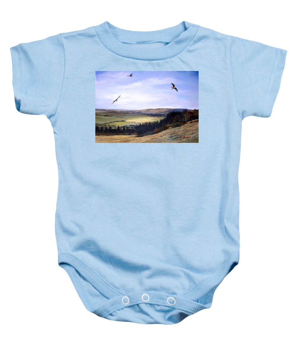 Red Kites Baby Onesie featuring the painting Red Kites At Coombe Hill by Barry BLAKE