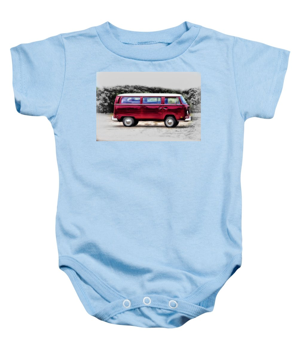 Red Baby Onesie featuring the photograph Red Microbus by Bill Cannon