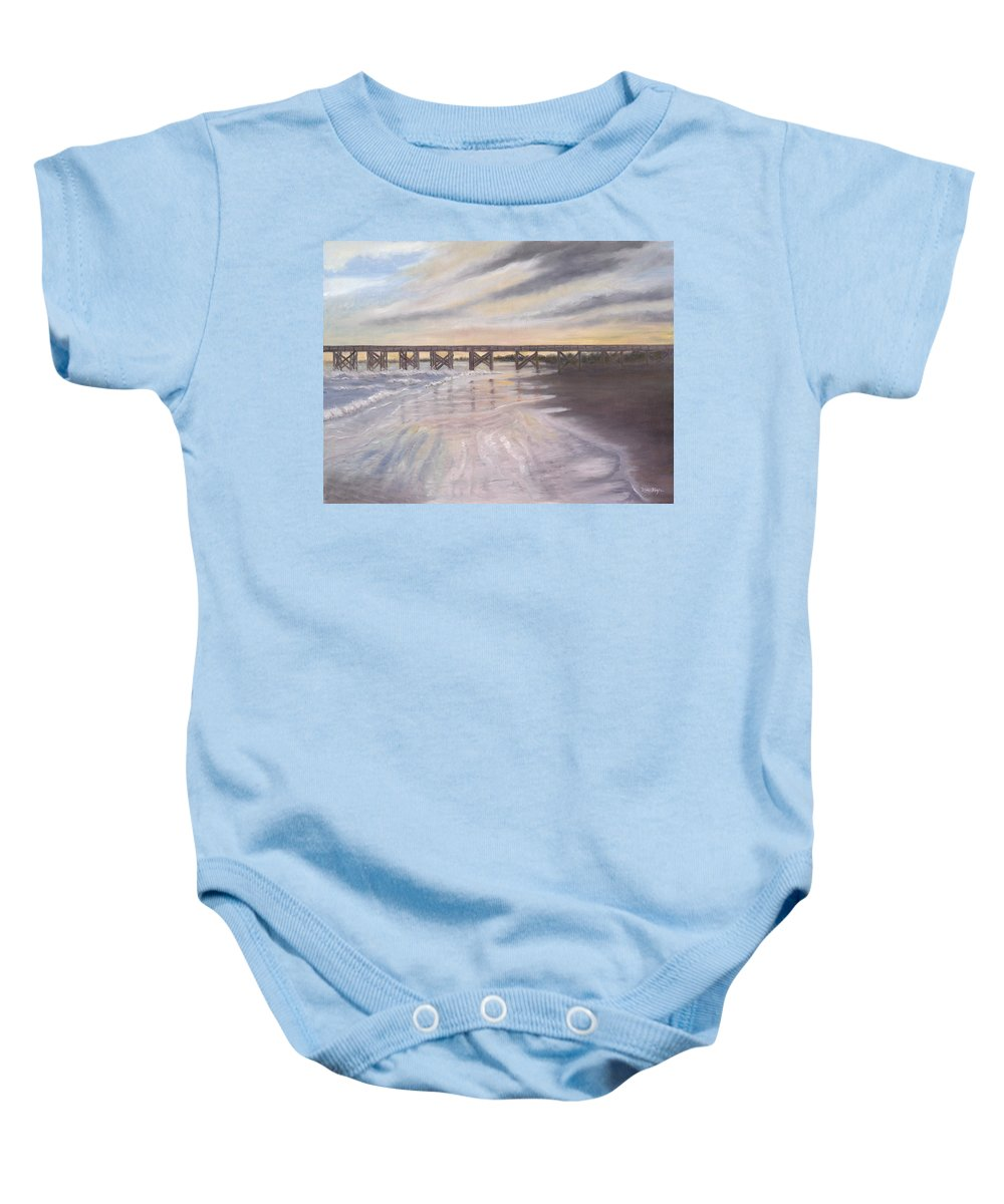 Beach; Pier; Low Country Baby Onesie featuring the painting Reflections by Ben Kiger