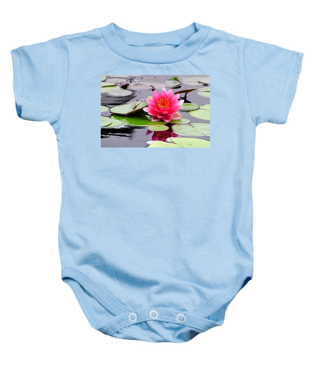 Reflections Of A Pink Waterliy Baby Onesie featuring the photograph Reflections Of A Pink Waterlily by Cynthia Woods