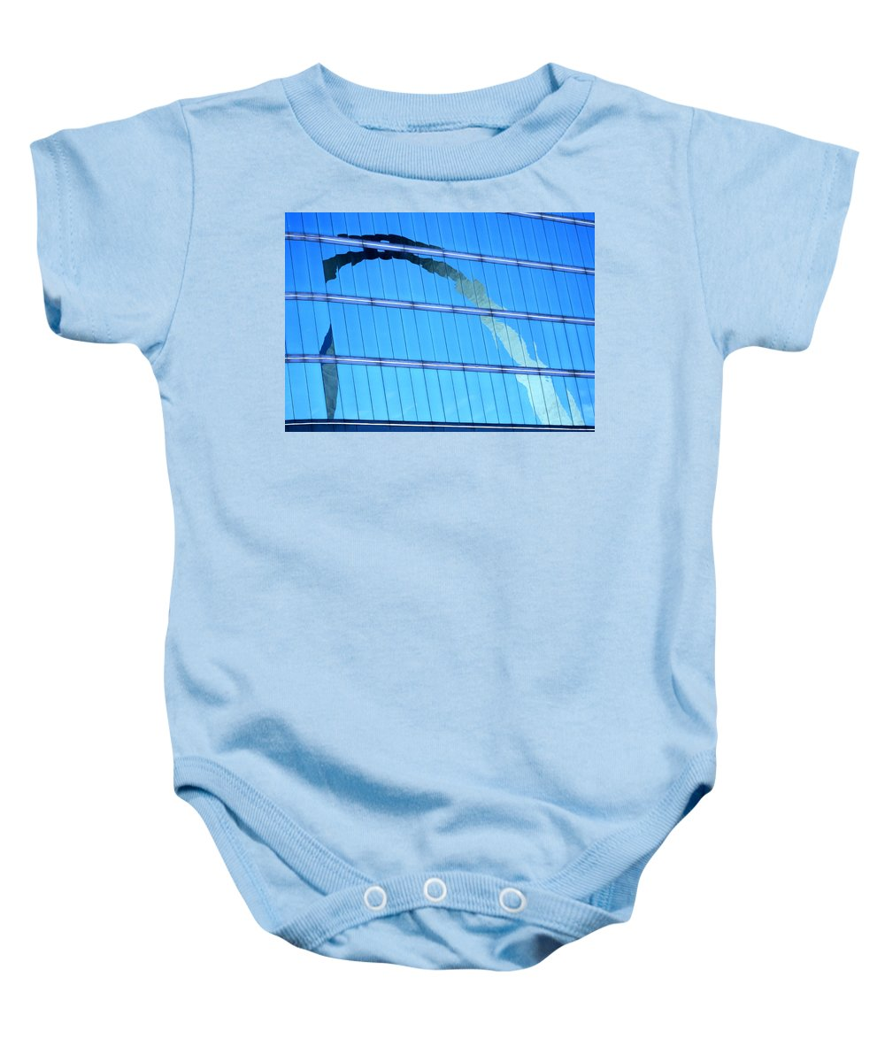 St Louis Arch Baby Onesie featuring the photograph Reflections Of The St Louis Arch by Garry McMichael