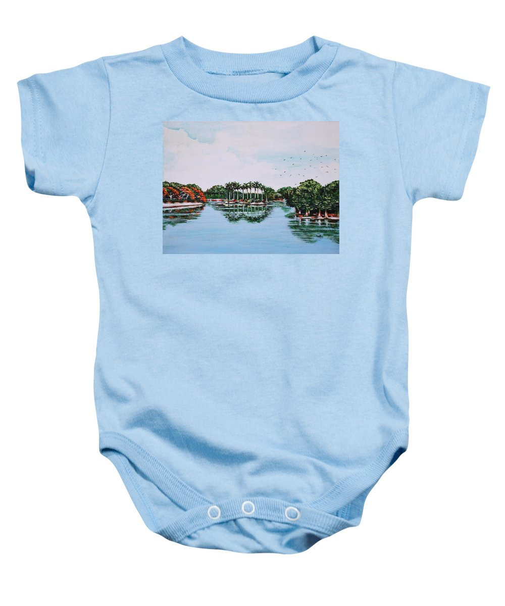Lal Baby Onesie featuring the painting Reflections On Lal Bagh Lake by Usha Shantharam