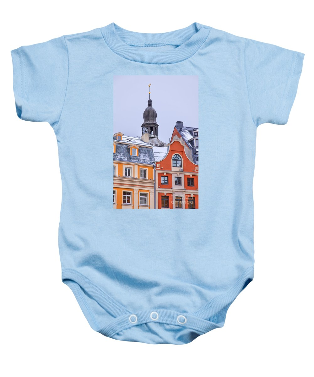 Red Baby Onesie featuring the photograph Riga Old Town by Sophie McAulay