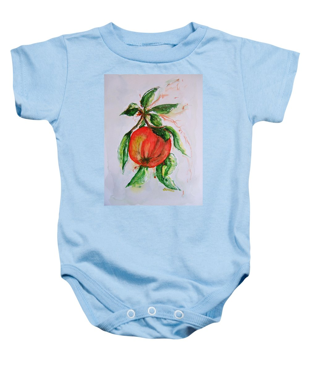 Apple Baby Onesie featuring the painting Ripe And Ready by Elaine Duras