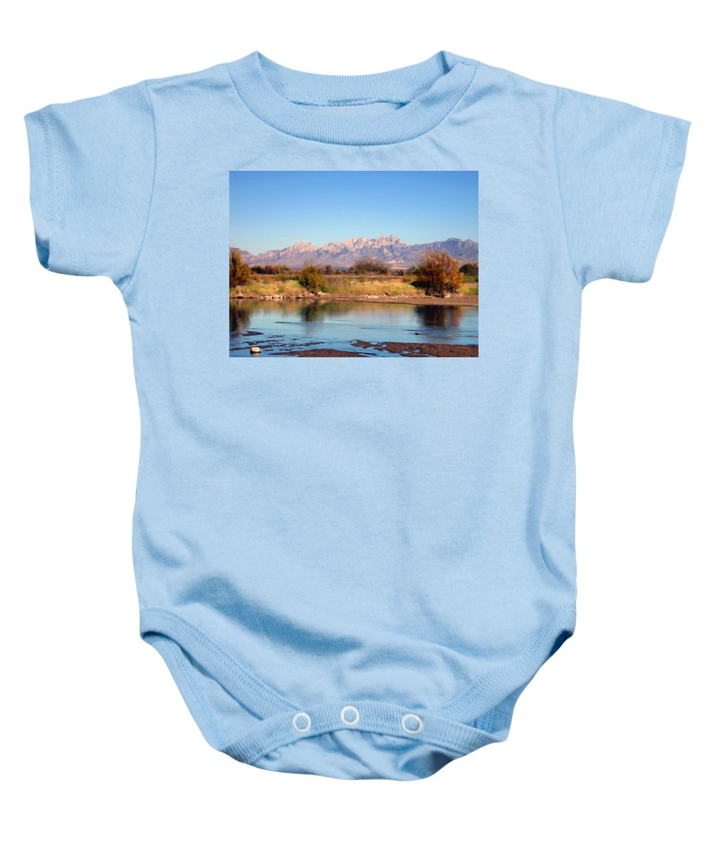 River Baby Onesie featuring the photograph River View Mesilla by Kurt Van Wagner