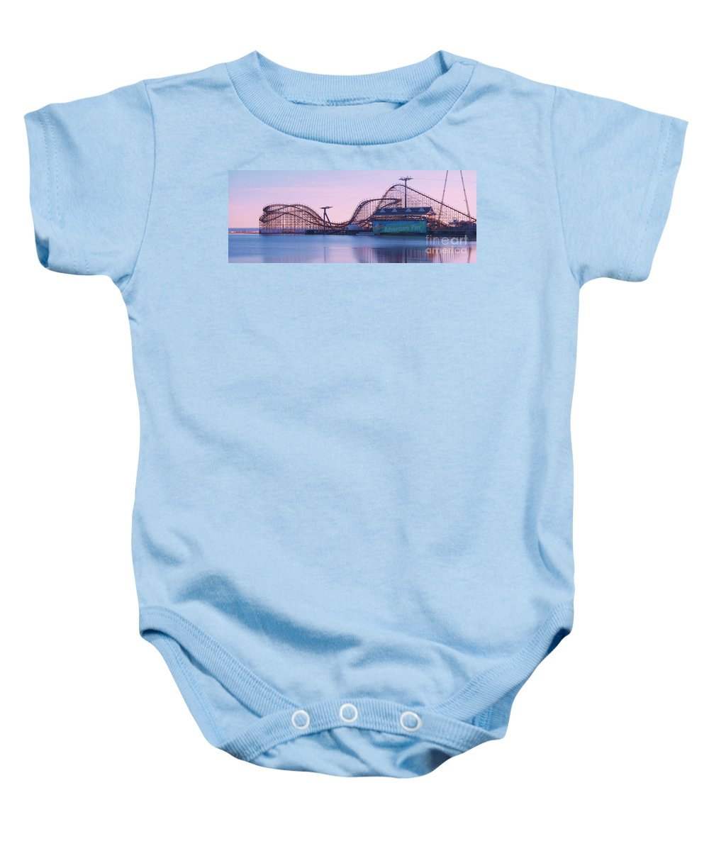 Roller Coaster Baby Onesie featuring the painting Roller Coaster by Eric Schiabor