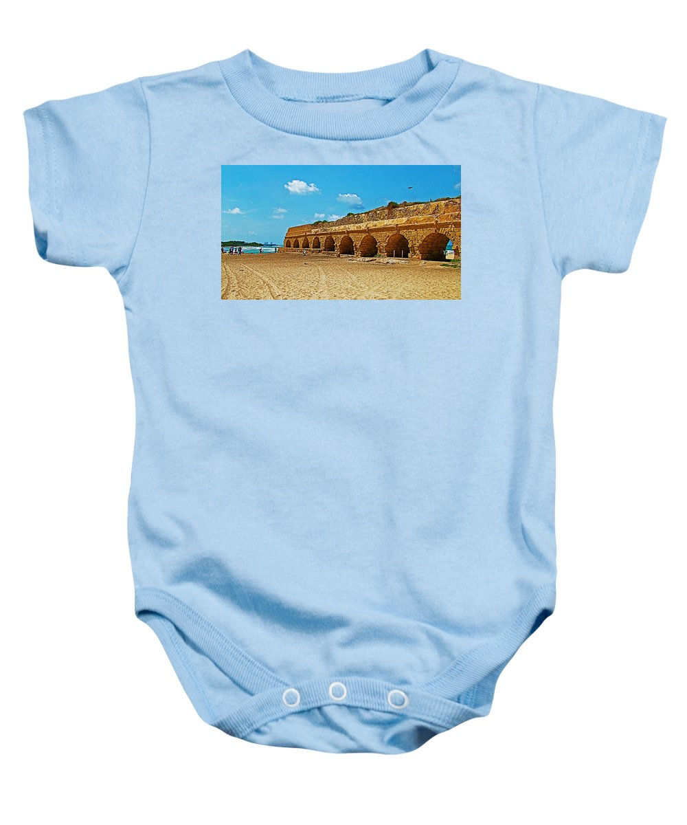 Roman Aqueduct From Mount Carmel 12 Km Away To Mediterranean Shore In Caesarea-israel Baby Onesie featuring the photograph Roman Aqueduct From Mount Carmel 12 Km Away To Mediterranean Shore In Caesarea-israel by Ruth Hager