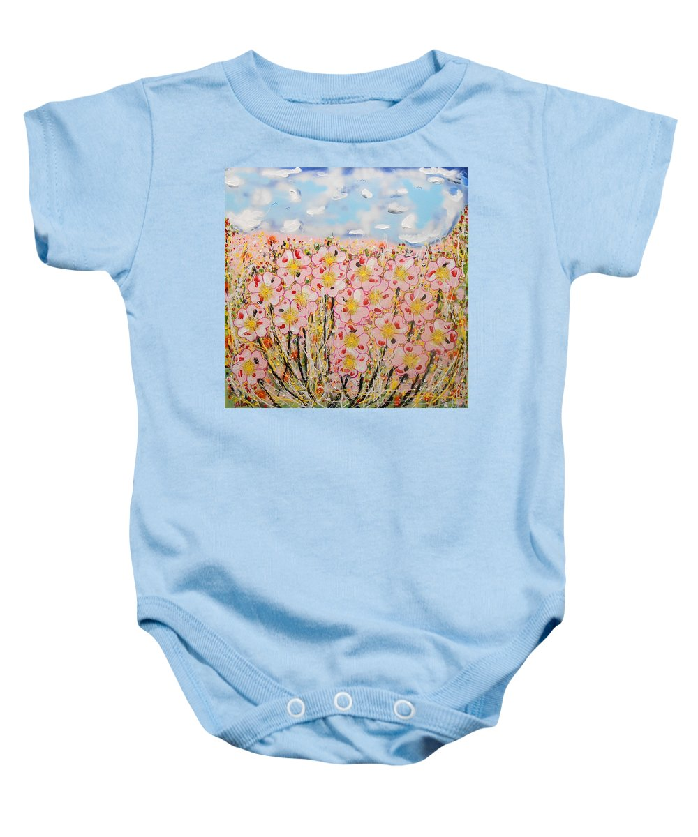 Contemporary Baby Onesie featuring the painting Rosa Ruby Flower Garden by Gh FiLben
