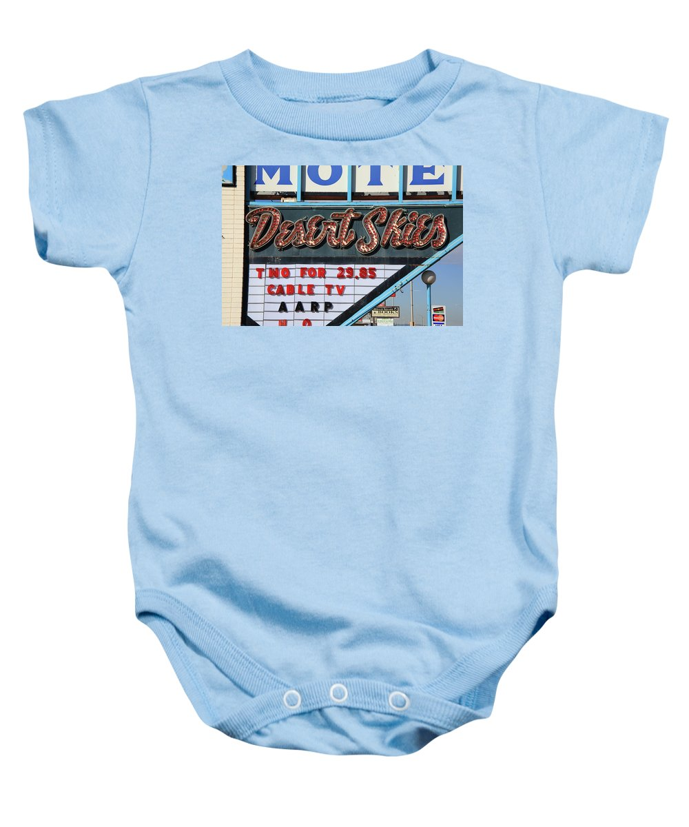 66 Baby Onesie featuring the photograph Route 66 - Desert Skies Motel by Frank Romeo