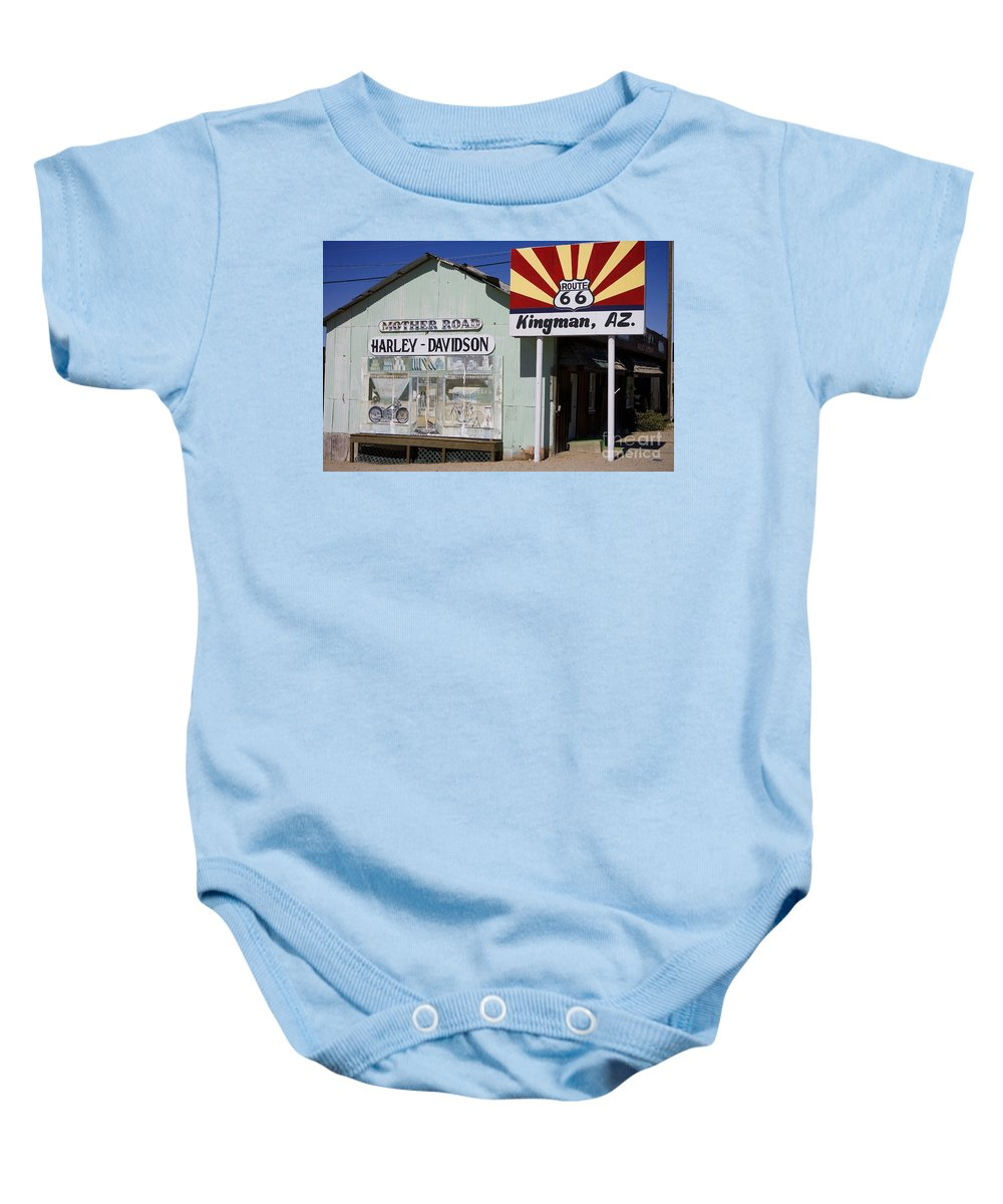 Harley-davidson Baby Onesie featuring the photograph Route 66 Kingman Arizona by Jason O Watson